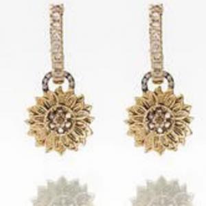 Sunflowers on Champagne Hoop Earrings