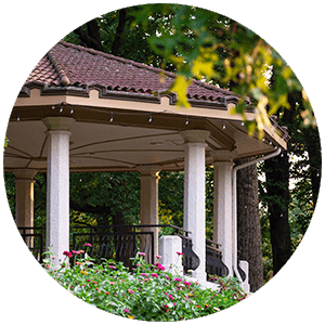 Burnet Woods Bandstand surrounded by blooming flowers