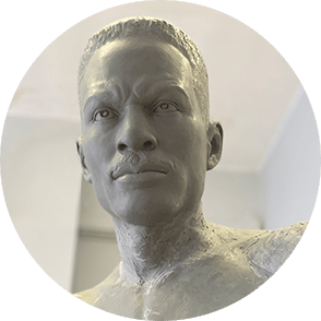 Clay bust of Ezzard Charles