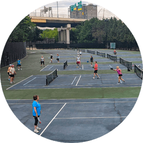 People playing pickleball at Sawyer Point