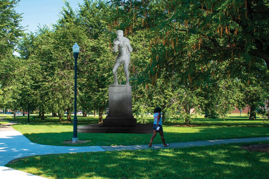 Rendering of Ezzard Charles Statue in Laurel Park