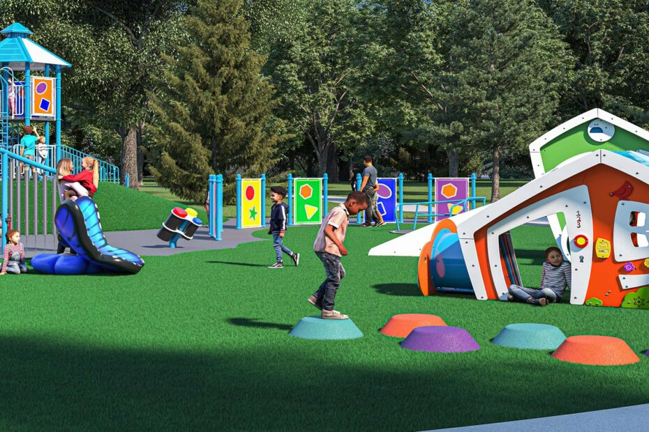 Rendering of children playing on the new playground that features a climbing tower and swings