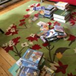 my piles of books that we're giving away
