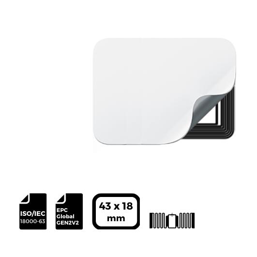 RFID LABEL 43x18mm with IMPINJ® Inlay AR61F