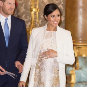 Meghan Markle Gold Brocade Dress