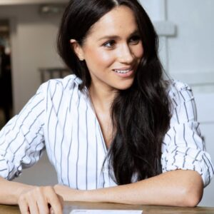 Meghan Markle Striped Button-Up