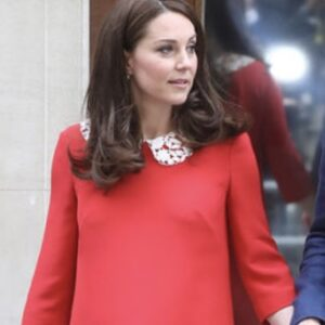 Kate Middleton Red Dress White Collar