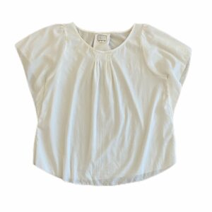 Anthro Postage Stamp White Gathered Top