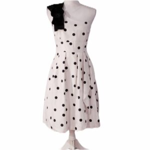 Tahari Polka Dot Print One Shoulder Dress