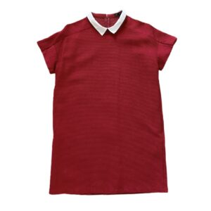 Zara Basic Red Dress White Collar