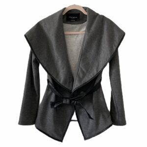 Akris Grey Wrap Jacket with Faux Leather Trim