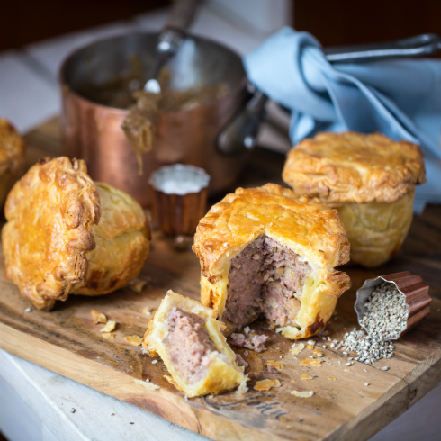 Individual pork pies with onion gravy (photography by Tasha Seccombe, styling by Nicola Pretorius)