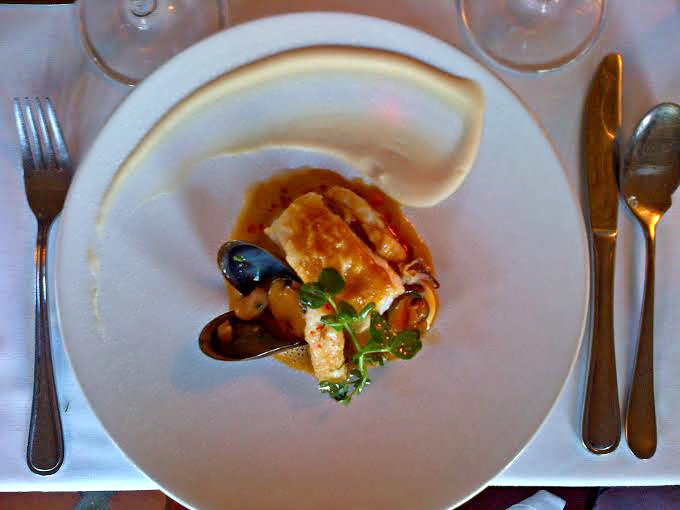 2nd Course: Fresh kingklip with bouillabaisse, squid, rouille and mussels