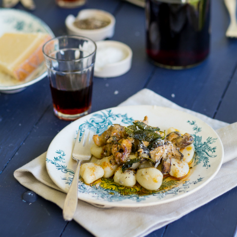 Potato gnocchi with panfried mushrooms and a drizzle of sage butter (photography by Tasha Seccombe, styling by Nicola Pretorius)