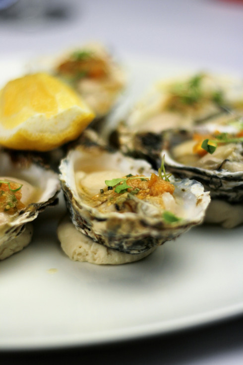 Oysters with Cape gooseberry dressing.