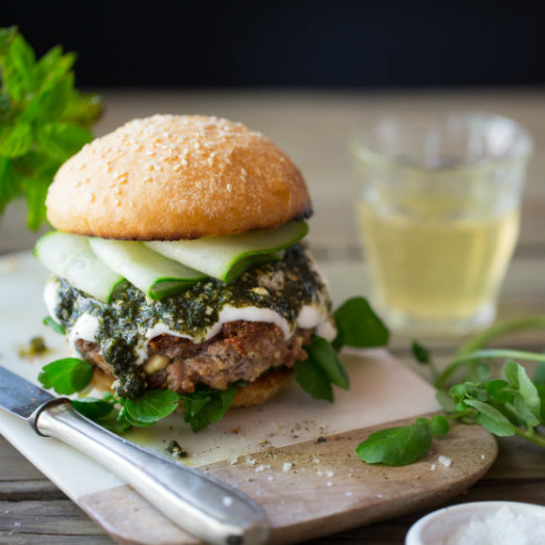 Lamb & feta burger with  mint pesto (photography by Tasha Seccombe)