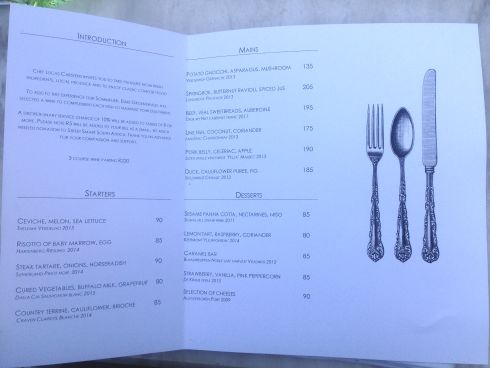 The brand new menu at Macaron Restaurant.
