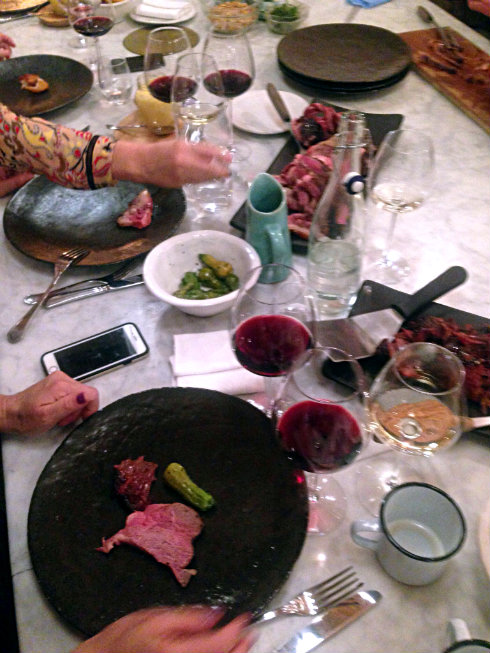 A blurry feast with the most delicious wines, massive roasts from the beef herd and vegetables from the garden.