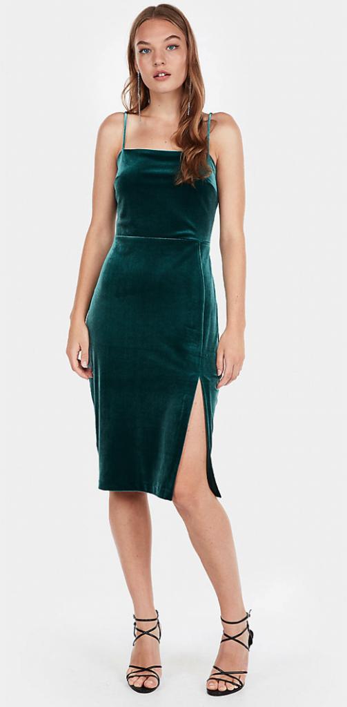 Express Velvet Front Silt Sheath Dress