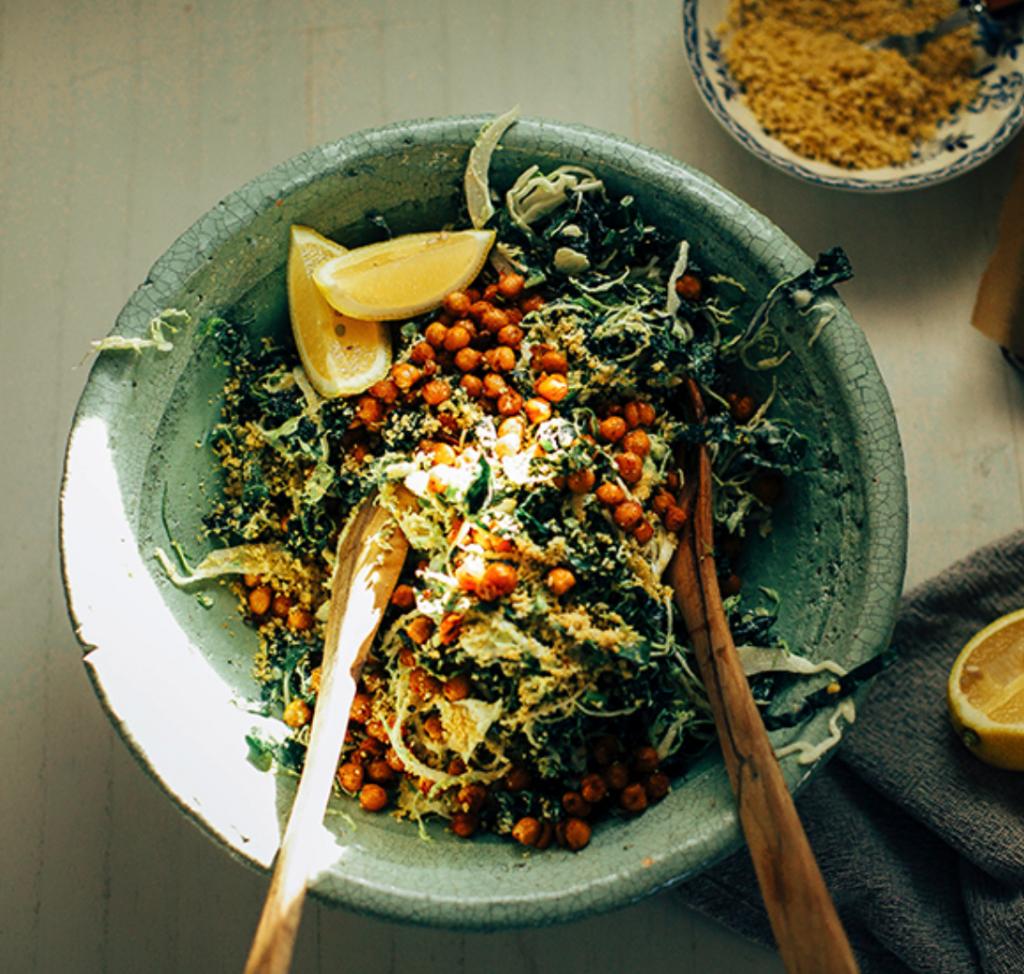 Kale & Brussel Sprout Caesar Slaw
