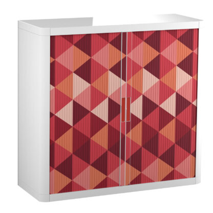"Paperflow easyOffice Storage Cabinet, 41"" Tall with Two Shelves, Maroon Triangles"