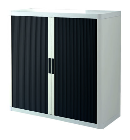 """Paperflow EasyOffice Storage Cabinet, 41"""" Tall with Two Shelves, White and Black"""