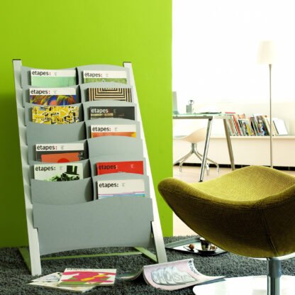 Paperflow Seven Compartment Multi-Sizes Floor Literature Display, Silver