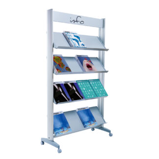 "Paperflow Single Sided ""L"" Literature Display, Metal Shelves"