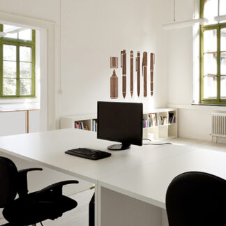 """Paperflow Office Deco Wall Transfers, Wooden Pen Collection 25"""" x 35"""""""