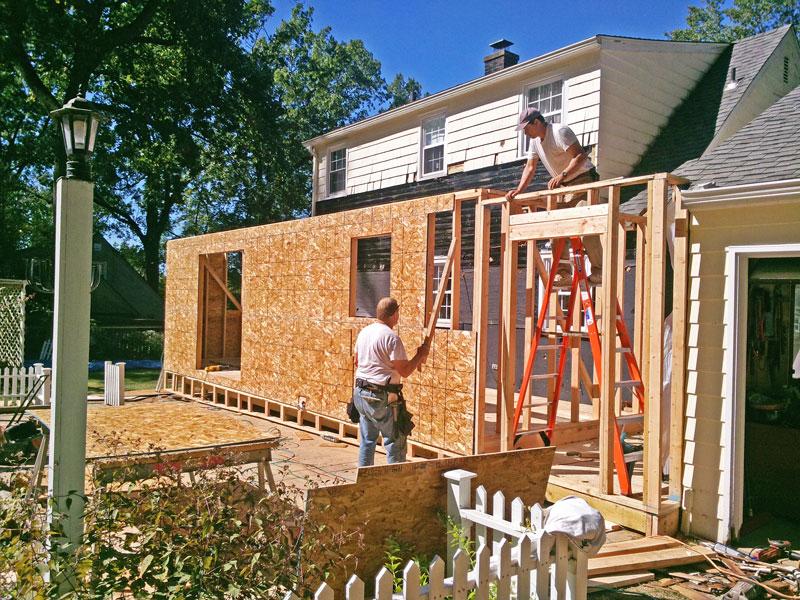 Outside Framing in Progress West Hartford, CT