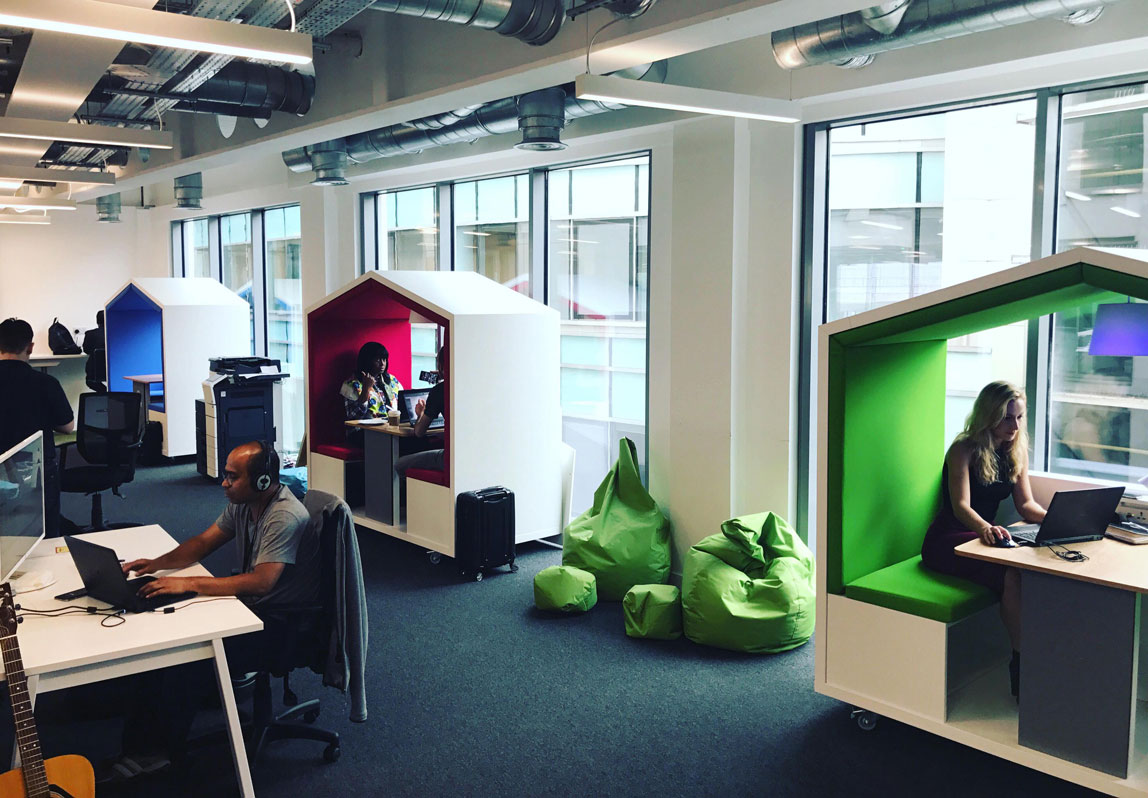 Nook Huddle pod in open office at influencer marketing company