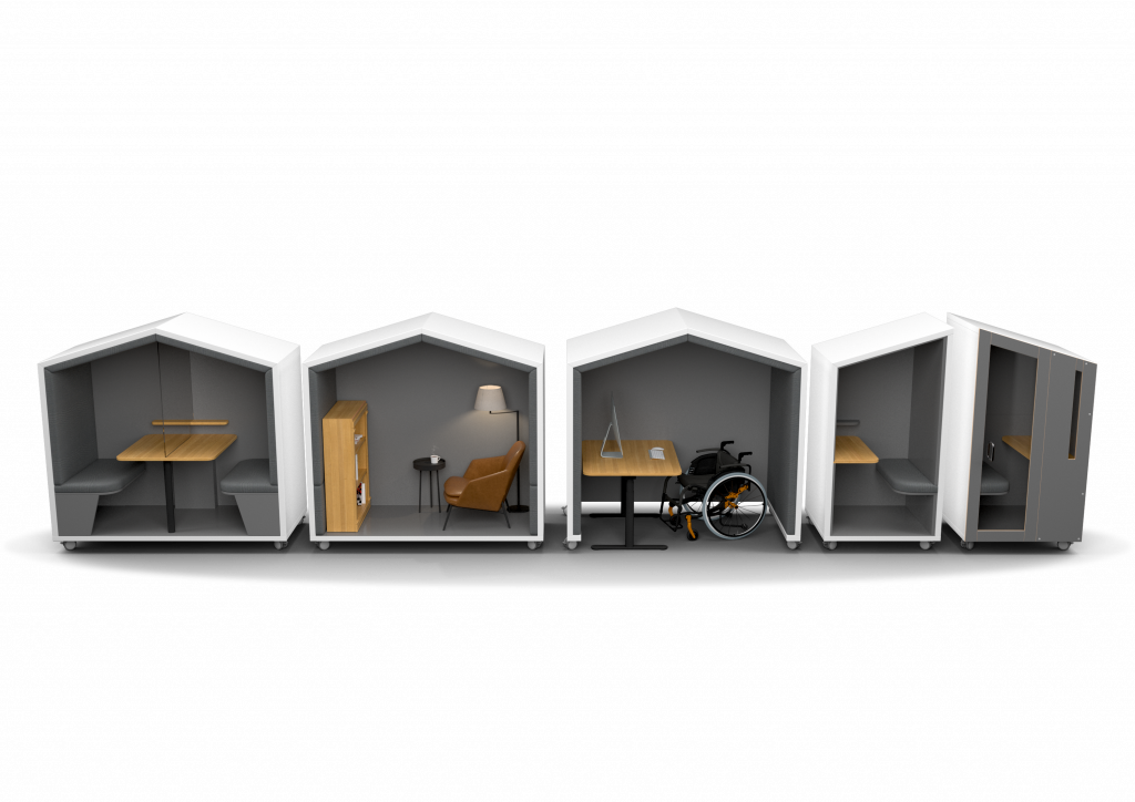Showing Nook family of pods with from left to right, the Nook Huddle pod, The Huddle in Theatre mode, The Nook Shelter, The Nook Solo open and the Nook Solo closed.
