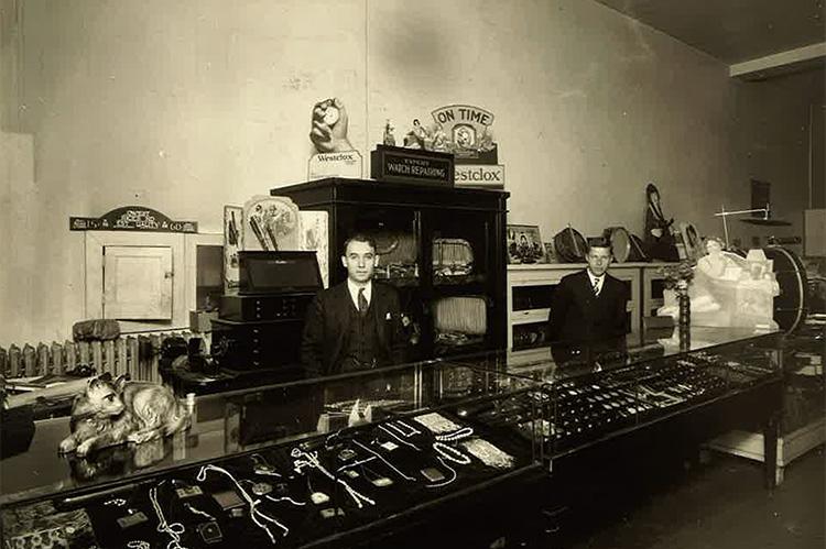 Aaron Dolgin inside his diamond shop
