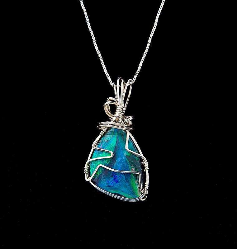 Natural Australian boulder opal necklace