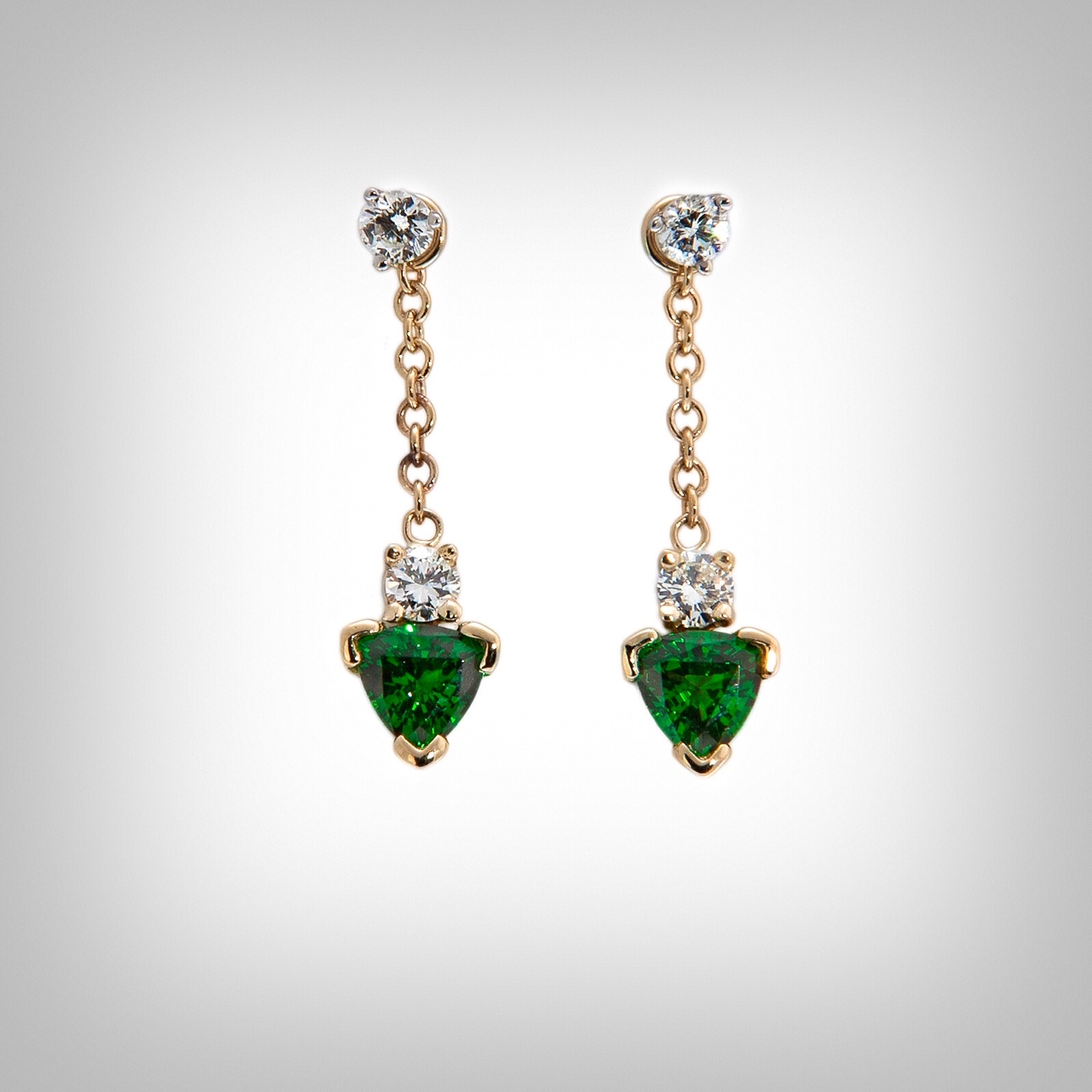 Tsavorite garnet and diamond drop earrings