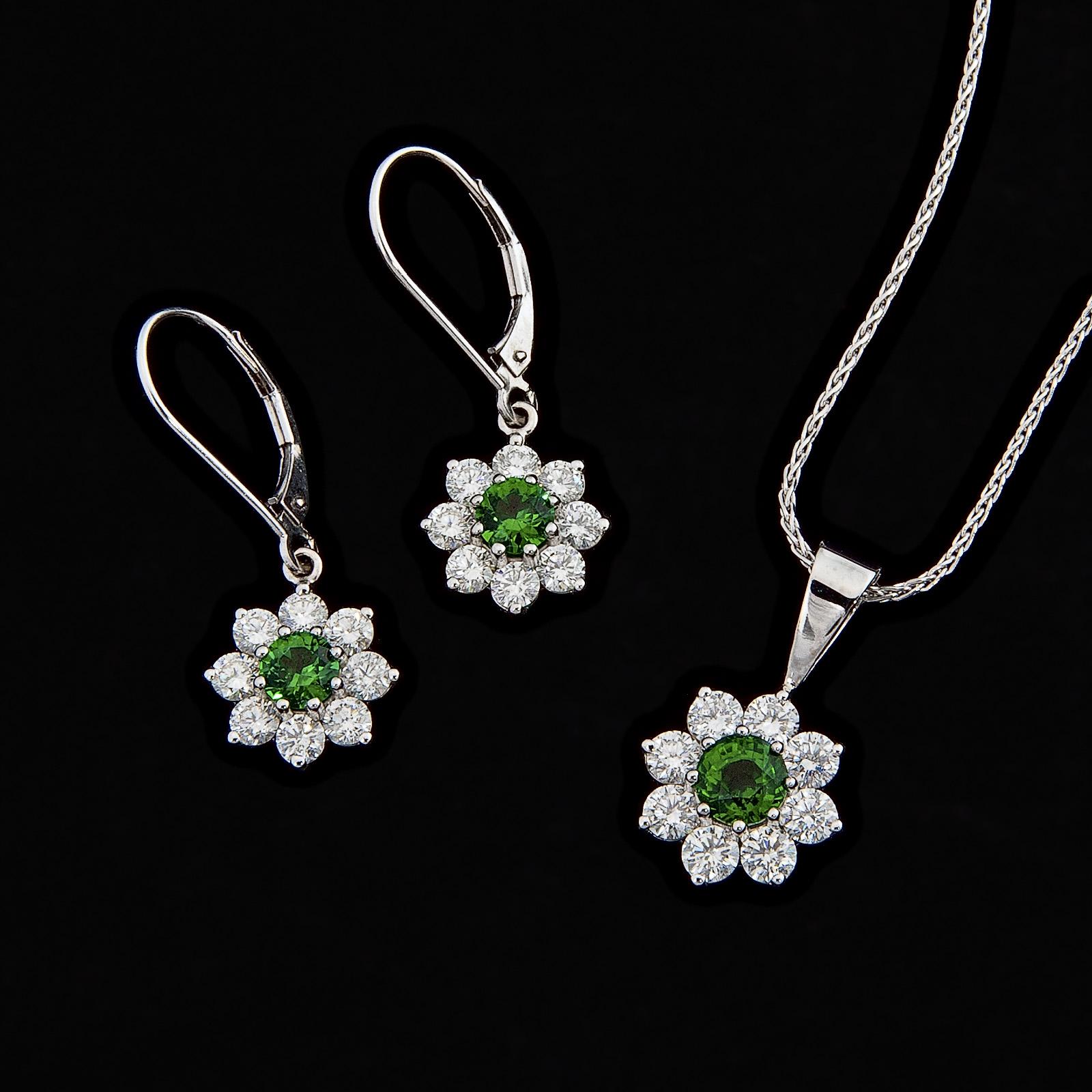 Tsavorite garnet earrings and necklace