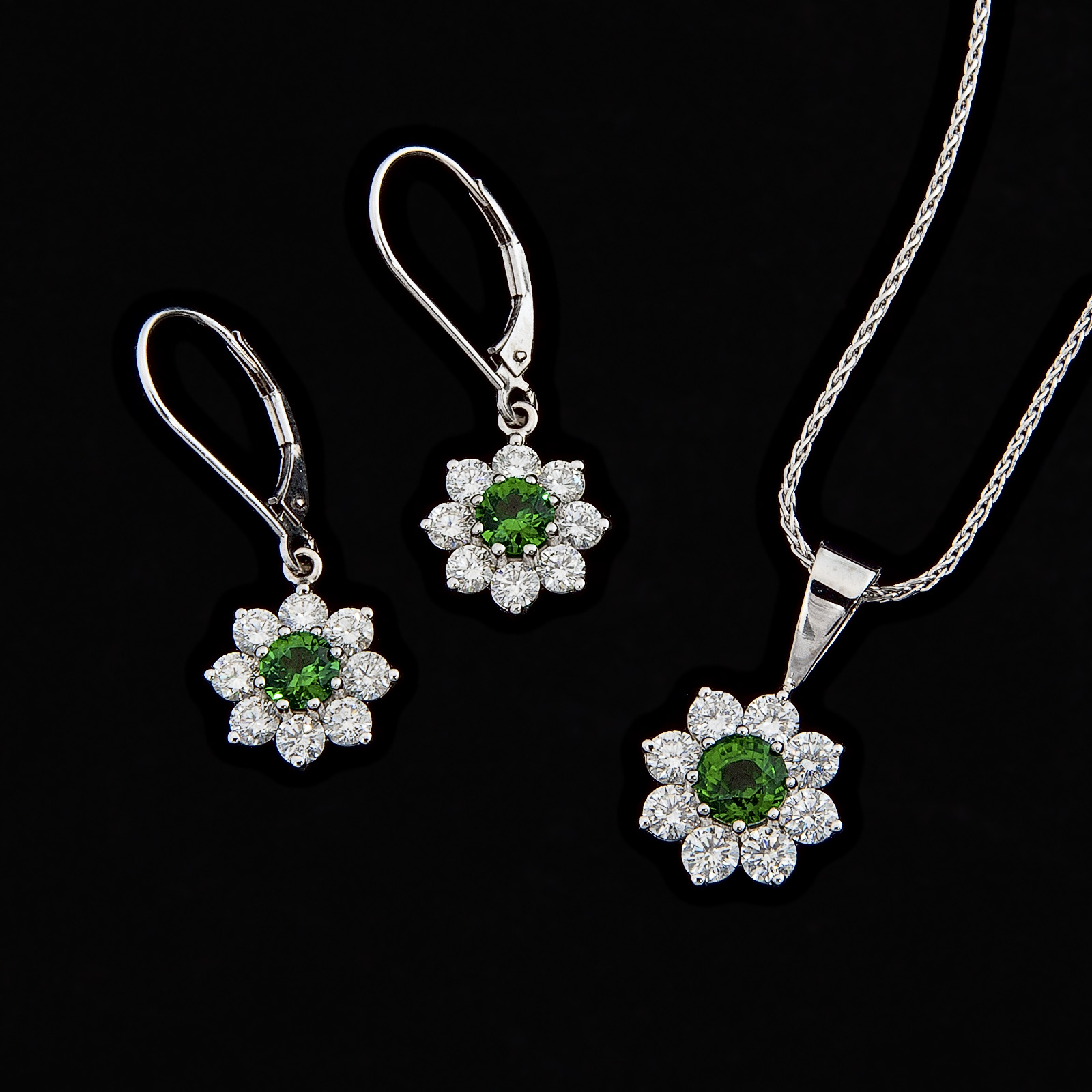 Tsavorite garnet earrings and necklace