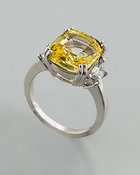 Yellow sapphire ring with trapezoid diamonds