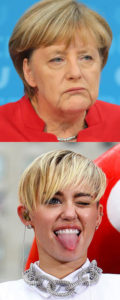 Miley Cyrus plays Angela Merkel on SNL.