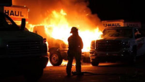 U-Haul trucks on fire.