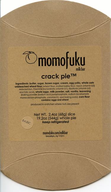 Crack pie wrapper from Momofuku Milk Bar.