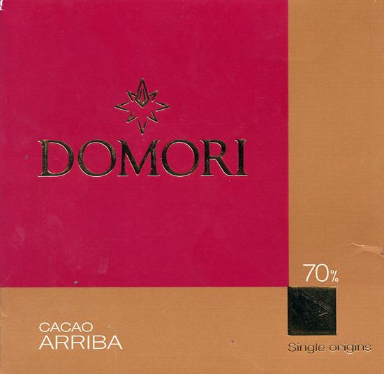 Domori chocolate bar wrapper.