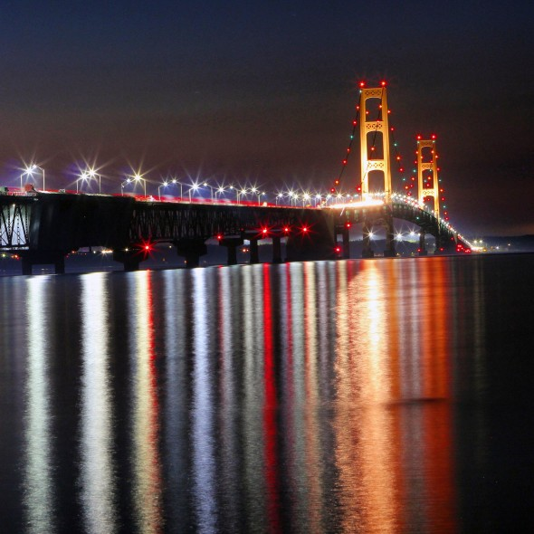 Image of Mackinac Bridge at Night