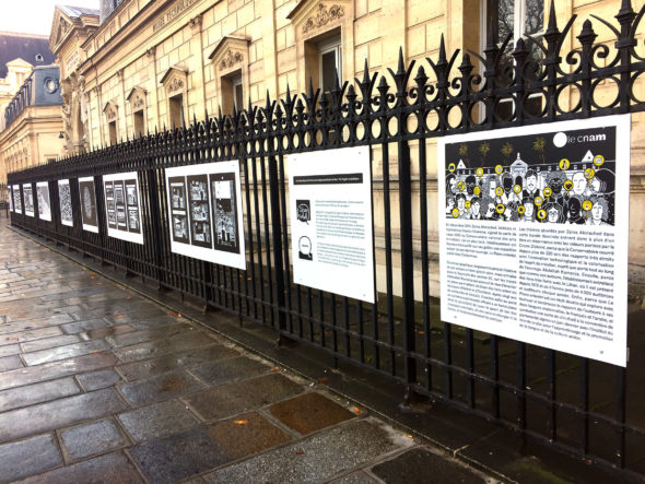 Image of comics by Zeina Abirached along the streetscape!