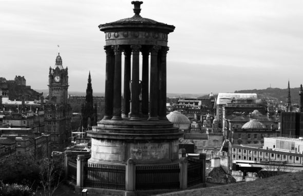 View of The Dugald Stewart Monument on Calton Hill