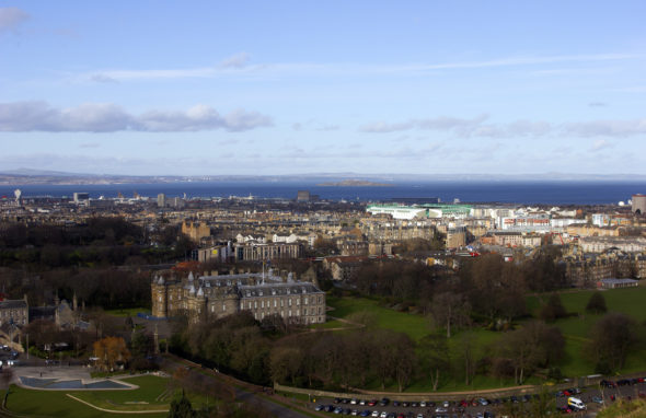 Image of the Holrood Palace from Holyrood Park
