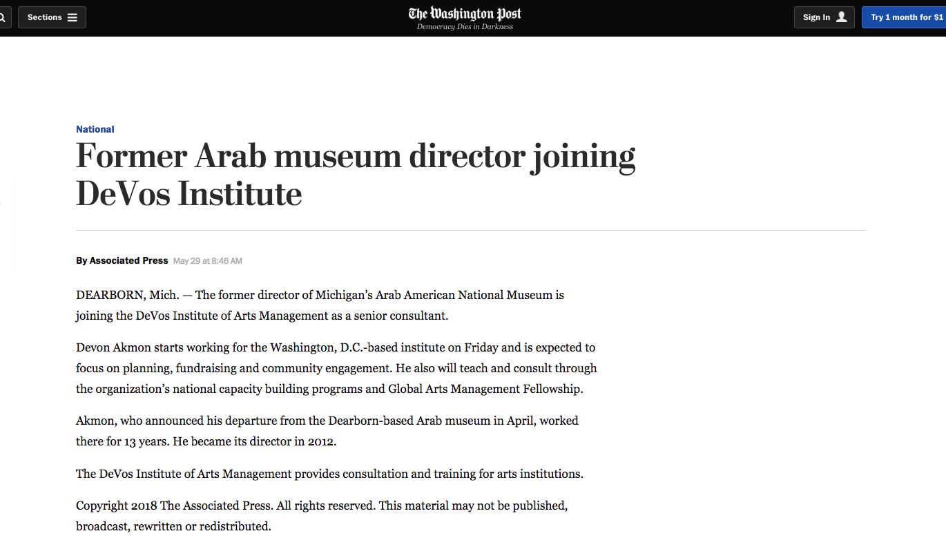 Washington Post article on my appointment to the DeVos Institute of Arts Management