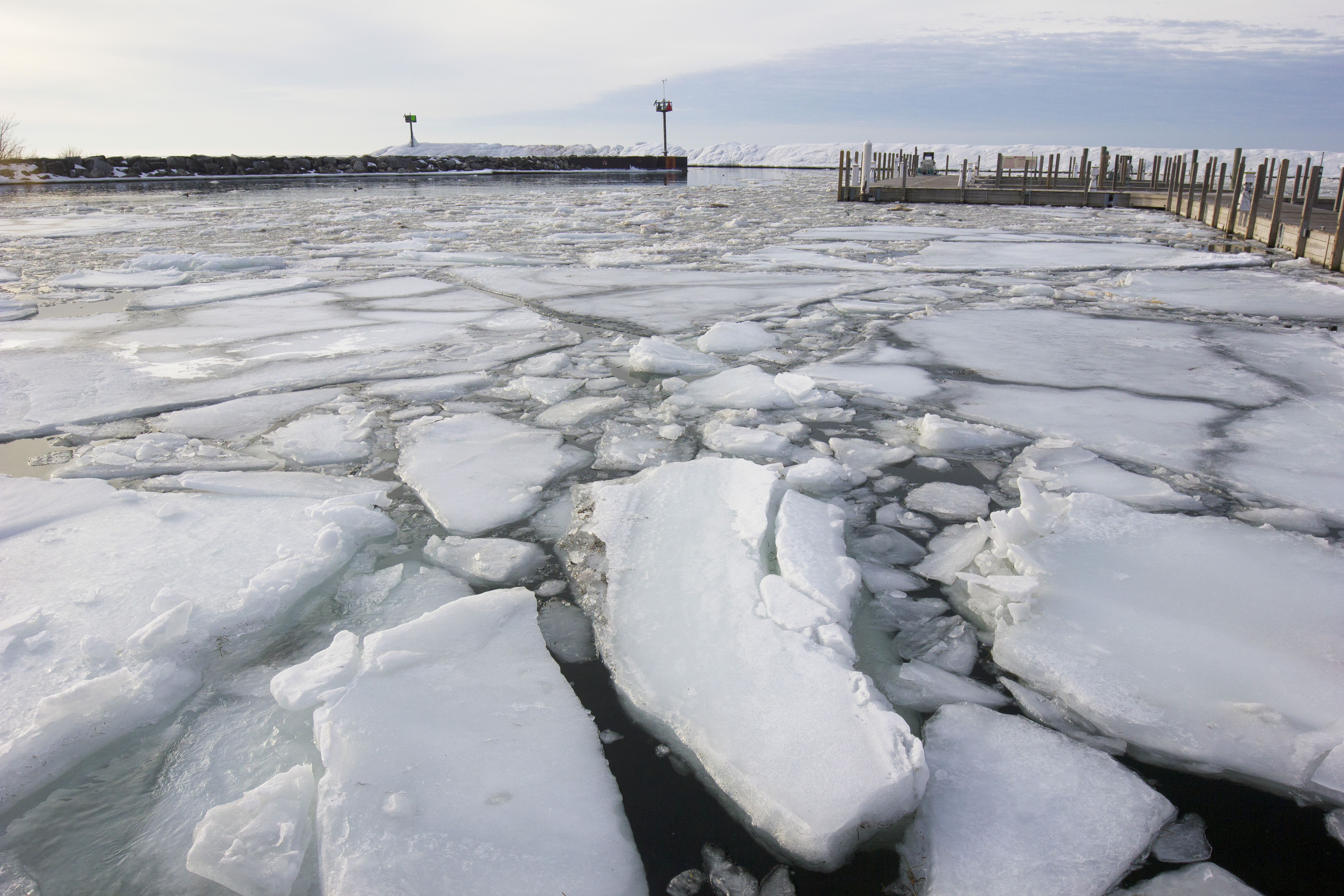 Broken ice near the dock at Fishtown