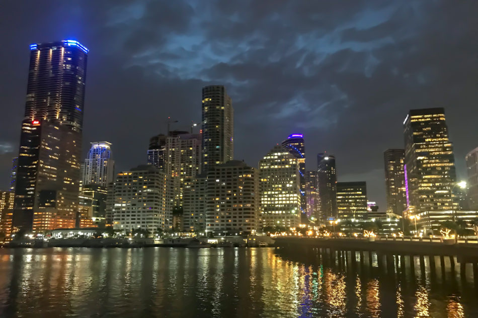 A photo of Miami At Night, Seen From Biscayne Key