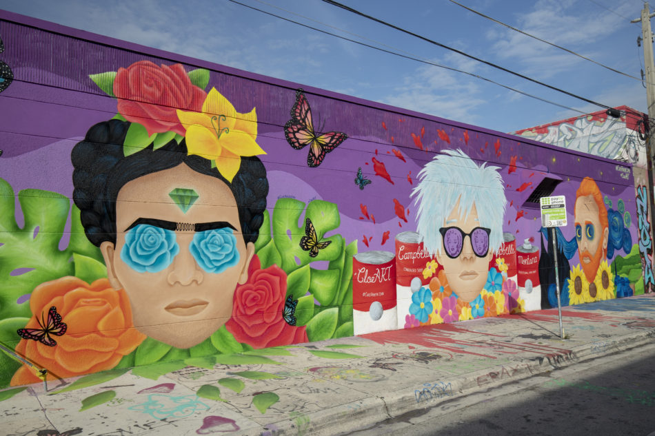 A photo of a mural of Kahlo, Warhol and Van Gogh in Miami's Wynwood arts district.